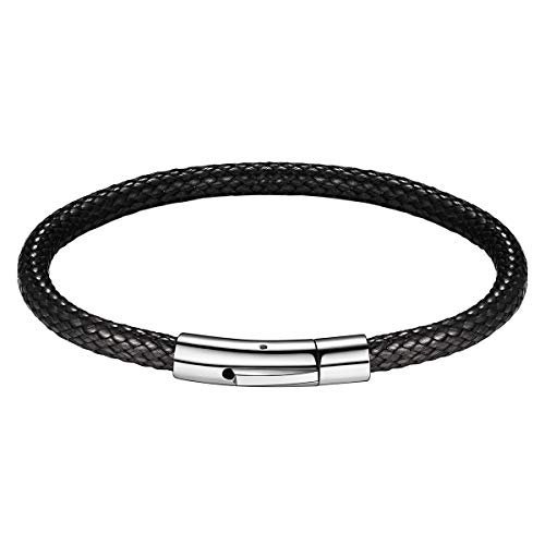 Leather Bracelets for Men Women 5MM Width Black Waterproof Soft Braided Woven Wax Cord Rope Bangle Bracelets with Stainless Steel Durable Snap Clasp Wristband Wrist Cuff Bracelet (Length 7Inch/18CM) ()