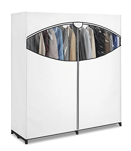 Whitmor extra wide clothes closet freestanding garment for Extra closet storage