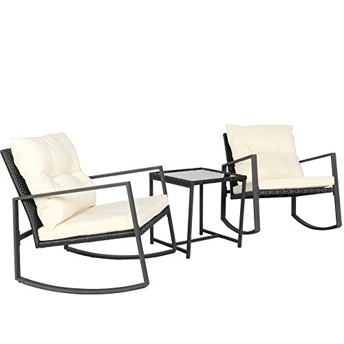 Kosycosy Outdoor 3 Pieces Patio Rocking Set Bistro Set Black Wicker Furniture - Two Rattan Rocker Chairs with Thick Cushions & Glass Top Table for Outdoor, Porch, Garden, Backyard, Pool