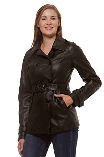 Double Breasted Belted Leather Jacket - 3