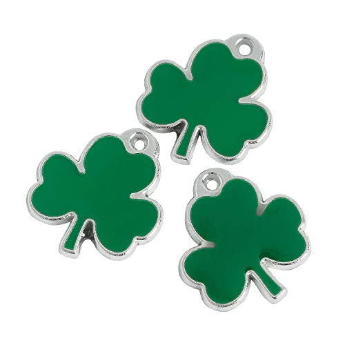 Fun Express - Lucky Shamrock Enamel Charms for St. Patrick's Day - Craft Supplies - Kids Beading - Charms - St. Patrick's Day - 36 Pieces