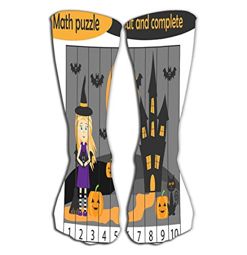YILINGER Math Puzzle Halloween Picture Witch Cartoon Style Education Game Devel Women's Tube Stockings High Graduated Over The Calf Tube -