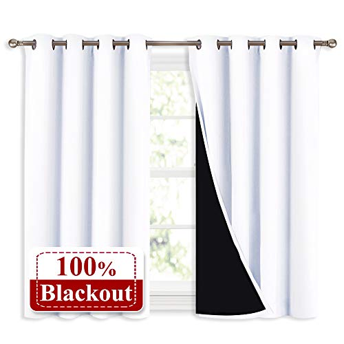 NICETOWN White 100% Blackout Curtains 45 Inches Long, 2 Thick Layers Completely Blackout Window Treatment Thermal Insulated Lined Drapes for Small Window (1 Pair, 52
