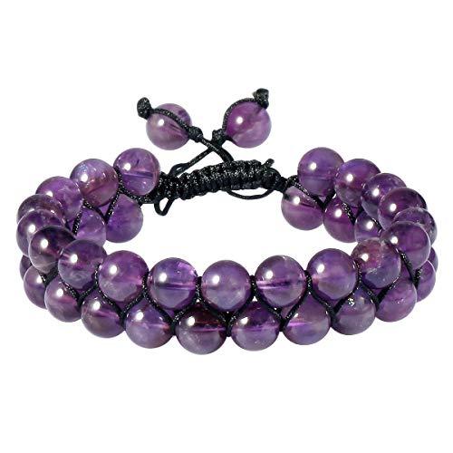 "SUNYIK 8mm Round Amethyst Adjustable Bracelet for Unisex, Double Layers Beads Macrame Friendship Bracelets, 7""-10"" Strand"