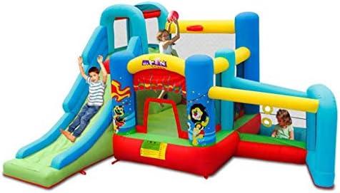 WJSW Castillos hinchables Juguetes Deportivos Verano Al Aire Libre Casa de los niños Diapositiva Grande Jardín del hogar Zona de Juegos para niños Niño y niña Trampolín Inflable Casa de ju: Amazon.es:
