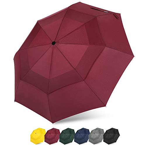 (G4Free Compact Travel Umbrella Vented Windproof Double Canopy Auto Open/Close Folding Umbrella with SAFE LOCK (Wine Red))