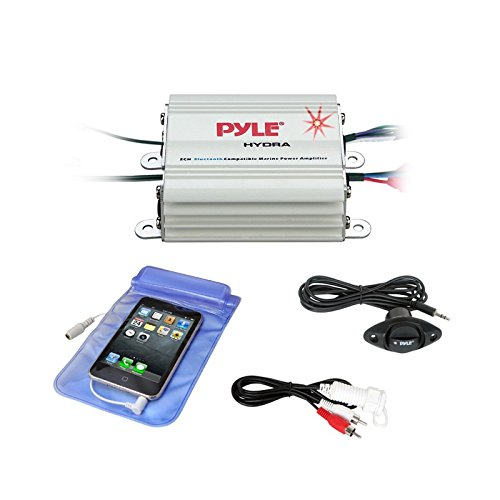 Pyle Auto 2-Channel Bridgeable Marine Amplifier - 200 Watt RMS 4 OHM Full Range Stereo with Wireless Bluetooth & Powerful Prime Speaker - High Crossover HD Music Audio Multi Channel System PLMRMB2CW