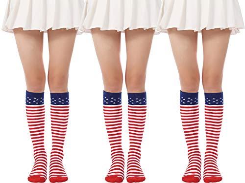Flag long Sock American USA Knee High Christmas Socks Thigh High Patriotic Stockings (3 Pairs Flag Knee High Socks)