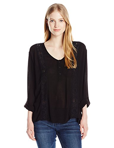Volcom Junior's Sunset Path Boho Long Sleeve Top, Black, M