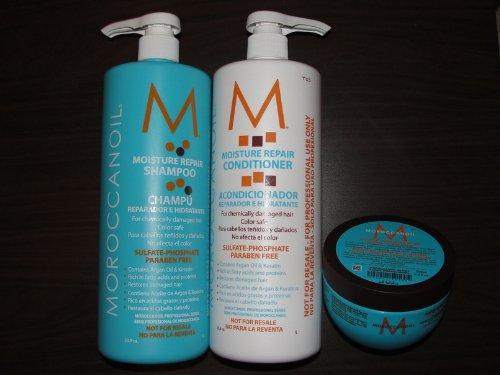 Moroccanoil Trio - Shampoo 33.8oz Conditioner, 33.8oz and Hydrating Mask 8.5 oz (Moroccanoil Mask Hydrating)
