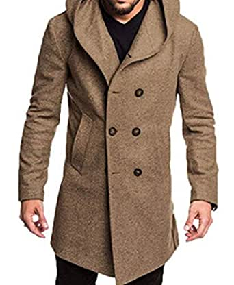Men Double Breasted Pea Coat Winter Hooded Long Casual