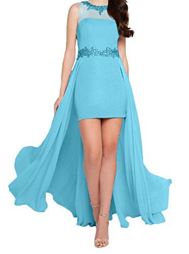 Abendkleider Cocktailkleider Chiffon Charmant Kurz Abschlussballkleider Partykleider Damen Mini Blau Weiss Iq6RyPwZ