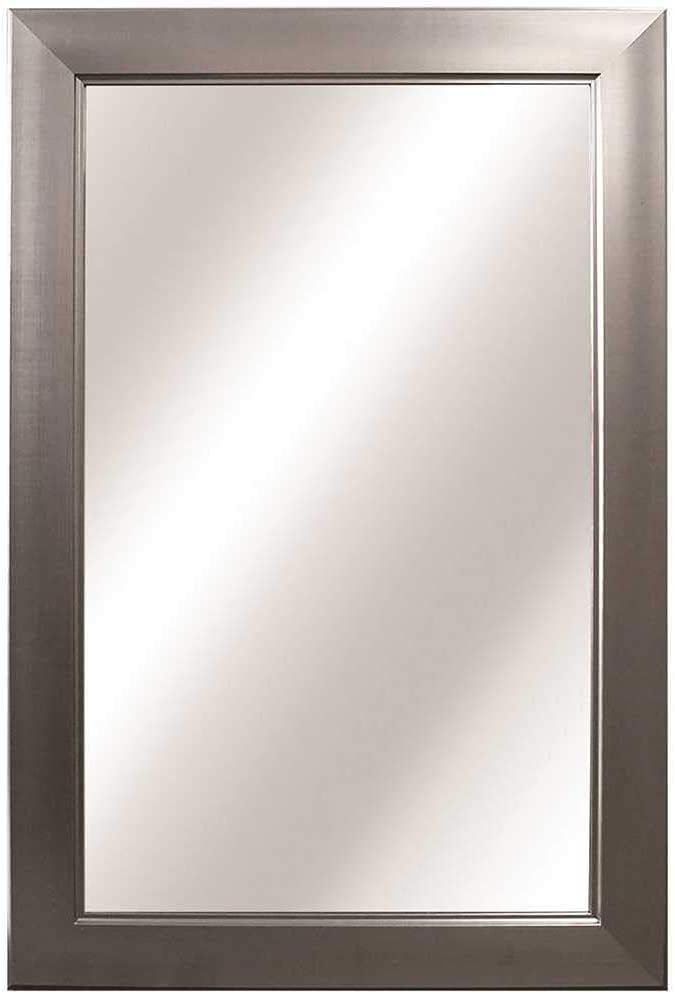 Home Decorators Collection 24.35 in. W x 35.35 in. L Framed Fog Free Wall Mirror in Brushed Nickel