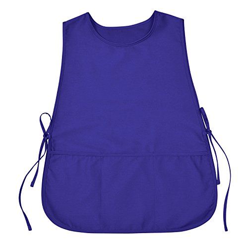 VEEYOO Chef Cobbler Apron with 3 pockets, Polyester Cotton, Art Smock Aprons for Unisex Adult Men Women, Royal Blue, Plus Size Large 23x32 inches by VEEYOO (Image #1)