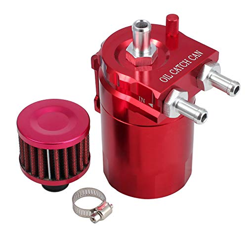 Justech Oil Catch Tank Cylinder Aluminum Engine Oil Catch Reservoir Breather Tank Can w/Filter Red