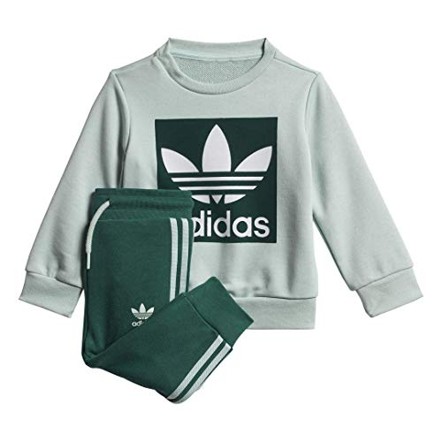 Adidas Infant & Toddler Originals Crew Sweatshirt Set (3M, Vapour Green/White)