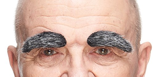 Mustaches Self Adhesive, Novelty, Fake Eyebrows, False Facial Hair, Costume Accessory for Adults,Black with Gray -