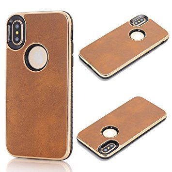 iPhone X Protective Case,5.8'' iPhone X Cover, Sammid Lightweight Slim Fit Dual Layer Protective Case overase for iPhone X - Light Brown by Sammid