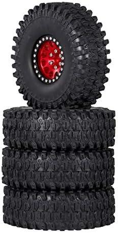 Facibom 4PCS Metal 1.9 Beadlock Wheel Rim Tires Set for 1//10 RC Crawler Car Axial SCX10 90047 SCX10 III AXI03007,Red