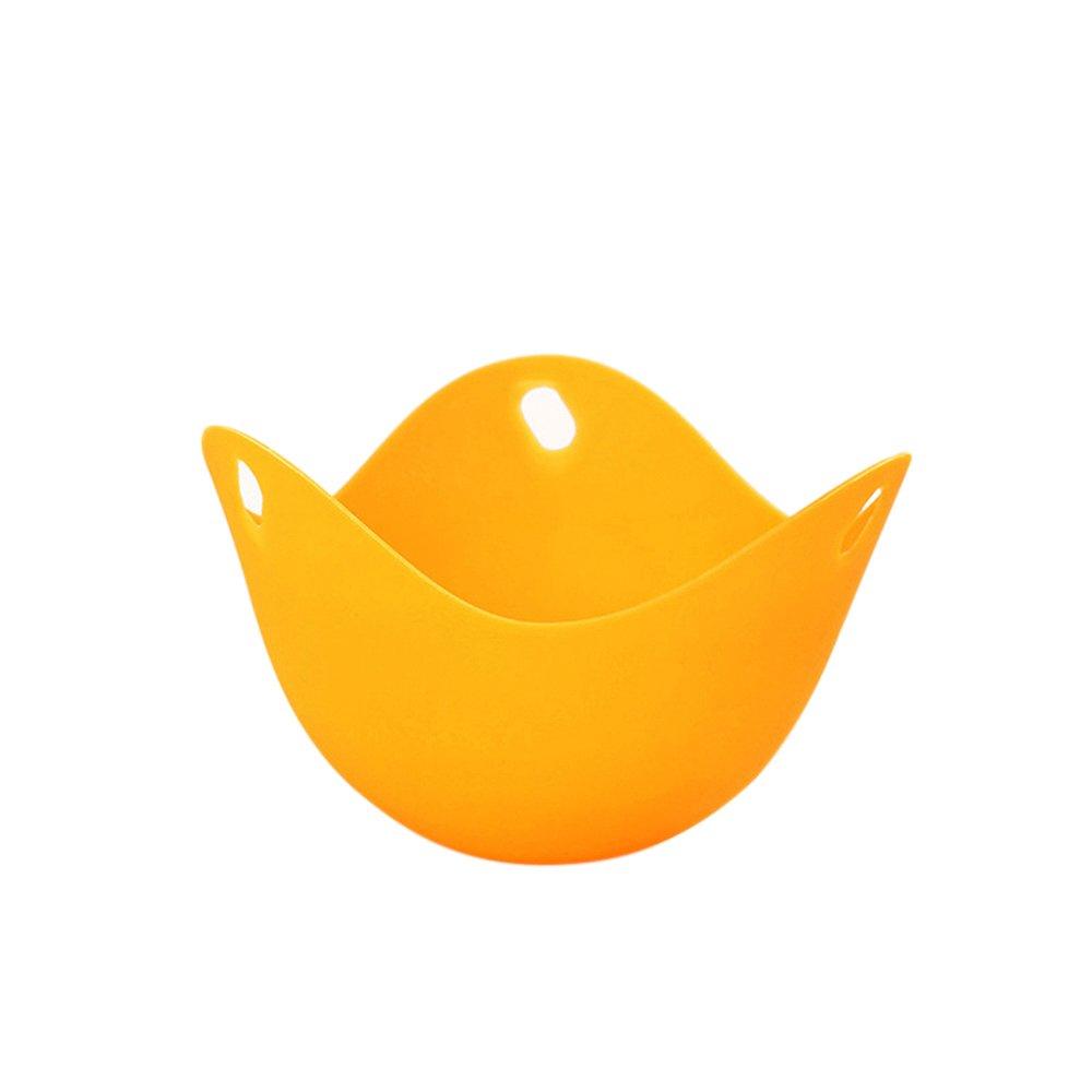 Godyluck Huevo de Silicona Sacacorchos Tazas Huevos Caldera Escurridiza Pocho Cup Pods Molde Cookware Kitchen Tool Panqueque Copas para Hornear Naranja