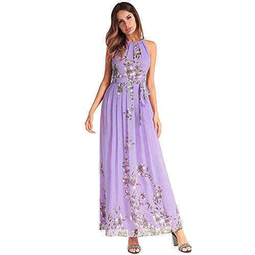 Con Vestido RONG XIU Largo Un De Vestido Un Vestido Y A Chiffon Mujer purple Un De PwCzdwq