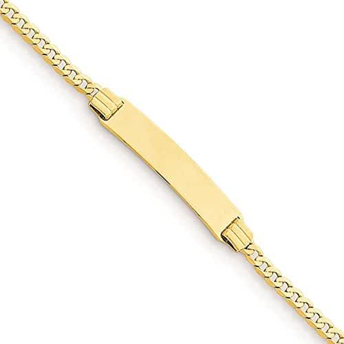 14K Yellow Gold Curb Link 5mm Kid's ID Polished Engravable Bracelet 6