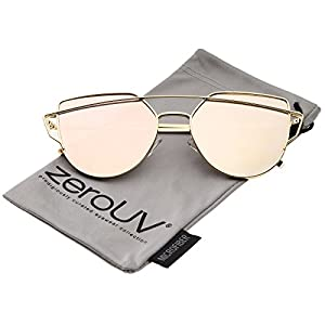 zeroUV - Small Metal Frame Thin Temple Color Mirror Flat Lens Aviator Sunglasses 54mm (Gold / Pink Mirror)