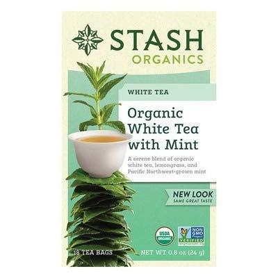 Stash Tea Organic White W/ Mint , 18-Bag
