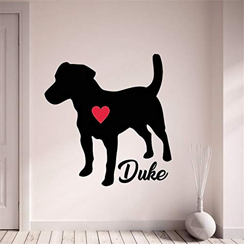 Ksiae DIY Removable Vinyl Decal Mural Letter Wall Sticker Jack Russell Terrier Personalize with Your Dog's Name Pet Dog Home Decor with Red Heart