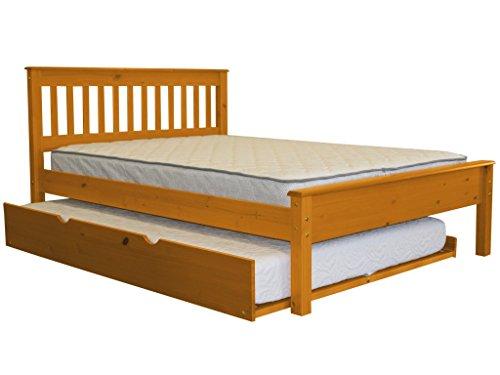 Full Slat Bed with Trundle, Honey