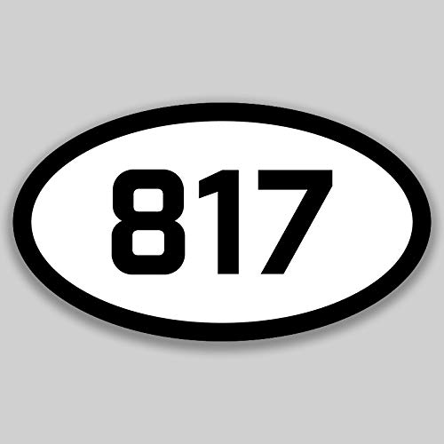 DHDM 817 Area Code Sticker Texas Fort Worth Arlington Bedford City Pride Love | 5-Inches by 3-Inches | Premium Quality Vinyl UV Resistant Laminate PD2327 ()