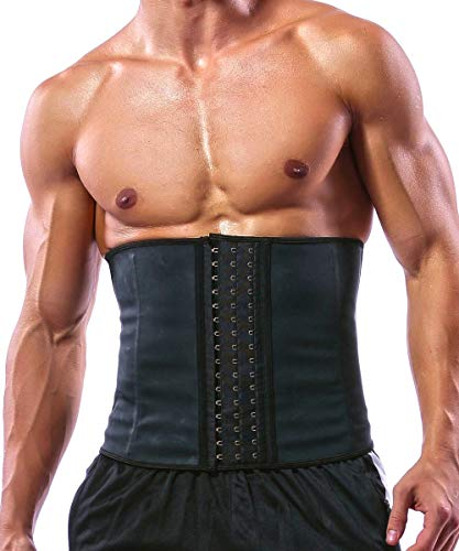 GainKee Latex Men Waist Trainer Corsets with Steel Bone Sweat Sauna Suit for Fitness (Medium)