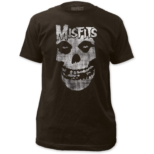Impact Misfits Distressed Skull Men's Fitted Jersey T Shirt,Coal,XX-Large