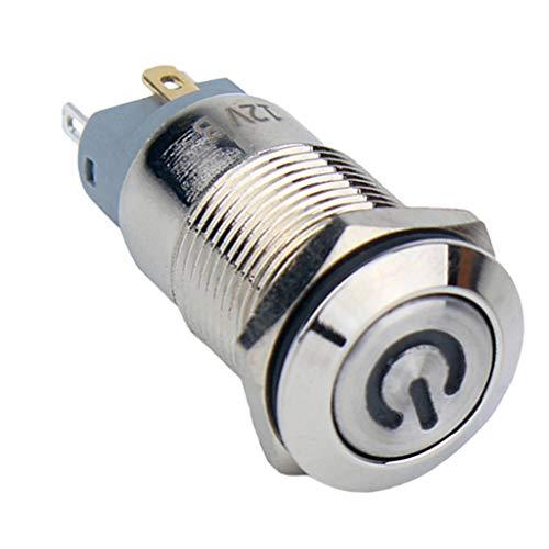 16mm プッシュボタンスイッチ 自動ロック LEDリングライト 金属 防水