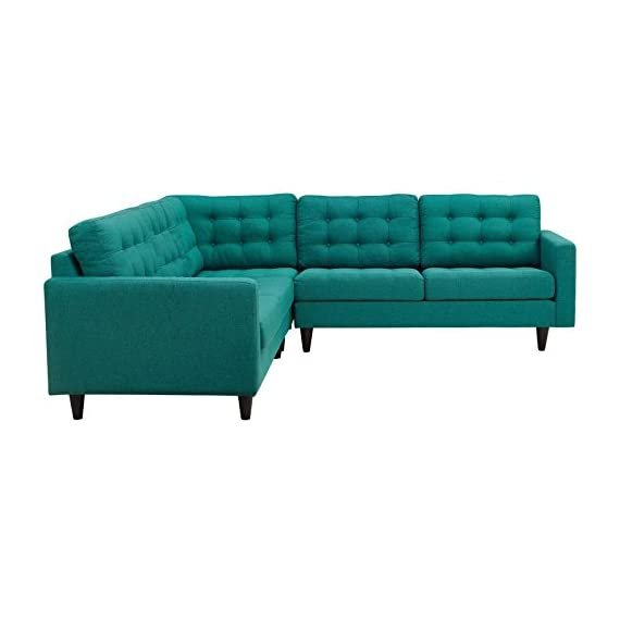 Modway Empress Mid-Century Modern Upholstered Fabric Sectional Sofa Set In Teal - CONTEMPORARY STYLE - The roomy depth and iconic look of Empress showcase mid-century modern design. Boasting tailored lines and a hopeful style, this piece embodies retro intrigue and sophistication. FINE UPHOLSTERY - Upholstered in quality polyester, Empress emboldens décor with a design worth remembering. This distinctive collection makes for a striking statement brimming with possibility. MODERN LOUNGE SPOT - A cherished tufted button seat for lounge spaces of all types, Empress provides an elegant place to rest when delving deep into conversation or sipping a steaming cup of tea. - sofas-couches, living-room-furniture, living-room - 41LjyZaWyHL. SS570  -