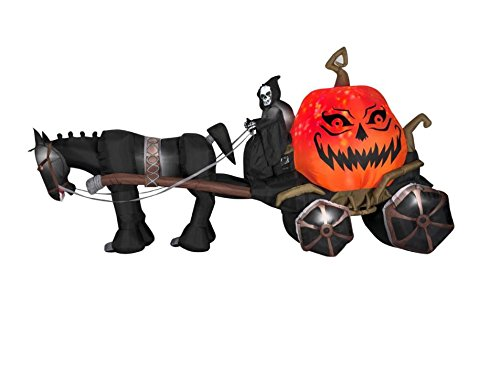 14 ft. Projection Inflatable-Fire and Ice-Grim Reaper, Carriage Outdoor Yard Halloween (Halloween Carriage)