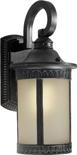 Forte Lighting 17022-01-64 Exterior Wall Light with Umber Seeded Glass Shades, Bordeaux -