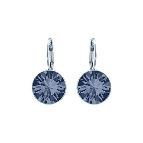 CP Baby Mini Bella Denim Blue Rhodium Plated Earrings Made with Swarovski ()