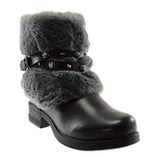 Angkorly - Women's Fashion Shoes Ankle Boots - Booty - Snow Boots - Biker - Ankle Strap - Fur - Crossed Thongs - Studded Block Heel 3.5 cm Grey