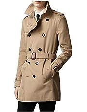 neveraway Men Mid-Long Premium Fine Cotton Waterproof Slim Fitting Jacket Trench
