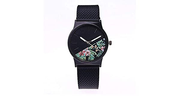 Scpink Mujeres de Cuarzo, el más Nuevo Reloj de Flores de impresión Relojes analógicos Femeninos Relojes de Pulsera de Silicona Reloj de señora Ronda dial ...