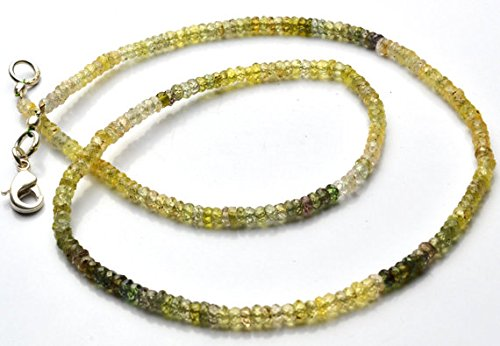 JP_Beads 1 Strand Natural Green Sapphire 3MM Facet Rondelle Bead 16