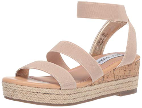 Steve Madden Girls' JBANDI Espadrille Wedge Sandal, Natural, 2 M US Little -