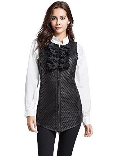 - ANNA&CHRIS Womens Genuine Laether Vest Lambskin Sleeveless Jacket with Cloth Flower