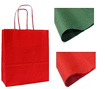 311fca4182 x 10 RED GIFT BAGS WITH TISSUE PAPER - CHRISTMAS   BIRTHDAY   PARTY BAG -