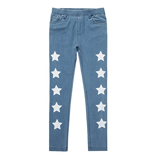 UNACOO Kids Girls Knit Denim Cartoon Printed Jeans(Stars, m(7-8T)) by UNACOO