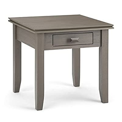 Simpli Home AXCHOL002-FG Artisan Solid Wood 21 inch Wide Square Contemporary End Side Table in Farmhouse Grey - Handcrafted with care using the finest quality solid wood Hand-finished with a Distressed Grey finish and a protective NC lacquer to accentuate and highlight the grain and the uniqueness of each piece of furniture. Features 1 functional drawer with metal drawer glides - living-room-furniture, living-room, end-tables - 41Lk%2BRHRwIL. SS400  -
