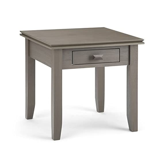 Simpli Home AXCHOL002-FG Artisan Solid Wood 21 inch Wide Square Contemporary End Side Table in Farmhouse Grey - Handcrafted with care using the finest quality solid wood Hand-finished with a Distressed Grey finish and a protective NC lacquer to accentuate and highlight the grain and the uniqueness of each piece of furniture. Features 1 functional drawer with metal drawer glides - living-room-furniture, living-room, end-tables - 41Lk%2BRHRwIL. SS570  -