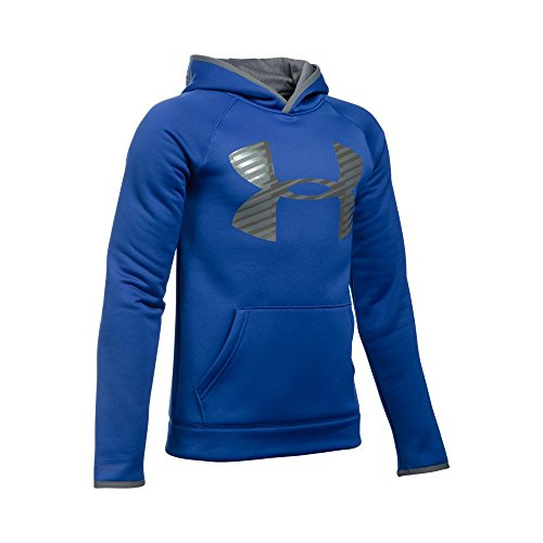 Under Armour Boys' Storm Armour Fleece Highlight Big Logo Hoodie, Royal/Graphite, Youth X-Large