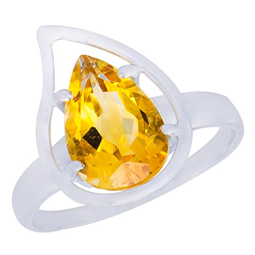 Sensational Genuine Natural Citrine Gemstone Sterling Silver Round Shapes Jewelry Womens Ring ()